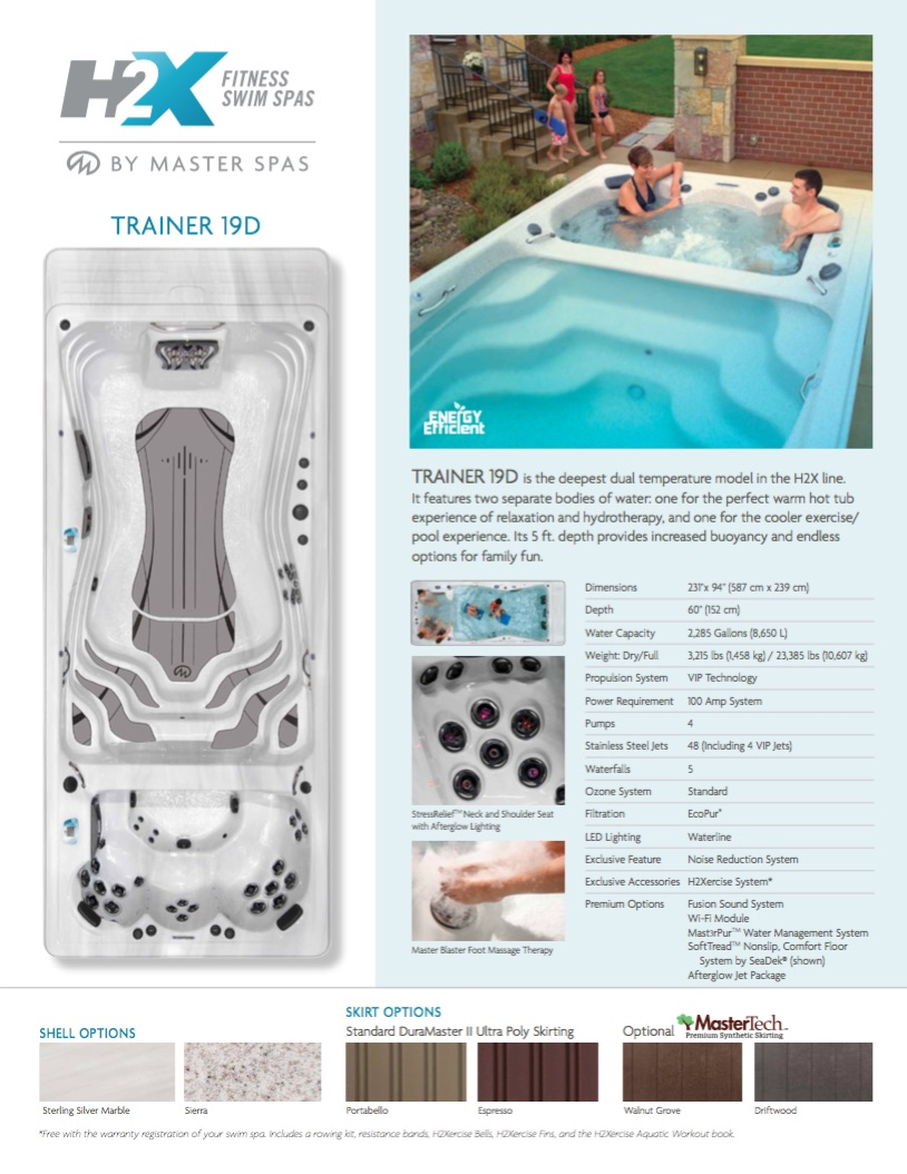 H2X Trainer 19 'D' Deep Swim Spa